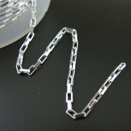 Sterling Silver Chain, Sterling Silver Bulk Chain-1.5X2.5 Rectangle Chain - Unfinished Bulk Chain (sold per foot)