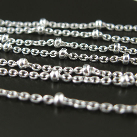 Sterling Silver Chain-Beaded Cable Chain-Satellite Chain-1.4X1.6 Cable Oval+Ball Chain - Unfinished Bulk Chain (by the foot)