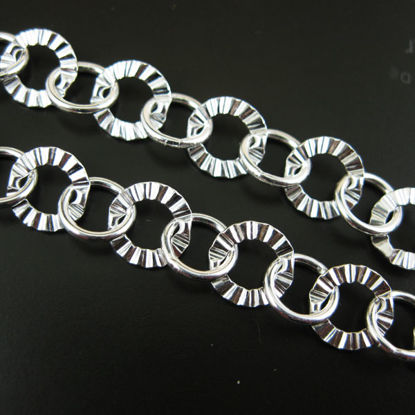 Sterling Silver Chain-Textured and Smooth Circle - Unfinished Chain, Bulk Chain (sold per foot)