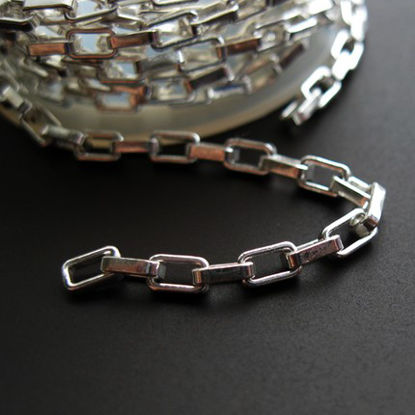 Sterling Silver Chain - Heavy Long Box Chain - Unfinished Chains, Bulk Chains - 4.5X2.5  (sold per foot)