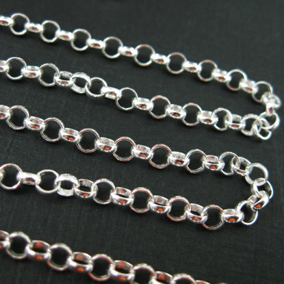 Sterling Silver 3.5mm Rolo Chain. Bulk unfinished by the foot