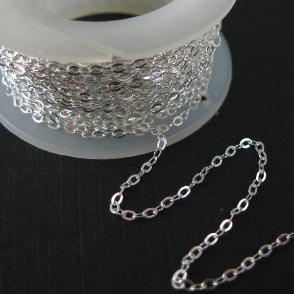 Sterling Silver Chain-Thick Cable Flat Oval Chain - Unfinished Chains, Bulk Chains (sold per foot)