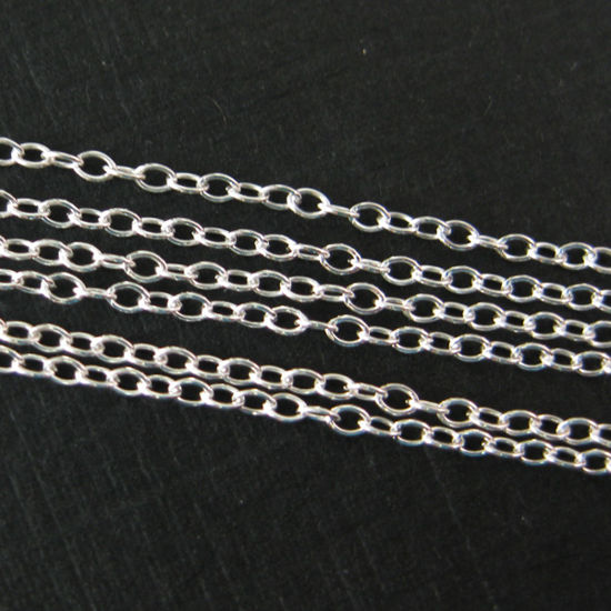 Sterling Silver Chain - Small Cable Oval Chain - Unfinished Chains, Bulk Chains (sold per foot)