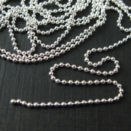 Sterling Silver Chain- Bulk Ball Chain 1.2mm - Beaded Chain - Unfinished Chains, Bulk Chains (Sold Per Foot)