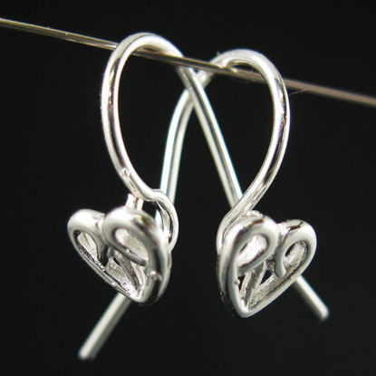 Sterling Silver Fancy Earwires with Heart 18 by 12mm  (2 pairs)