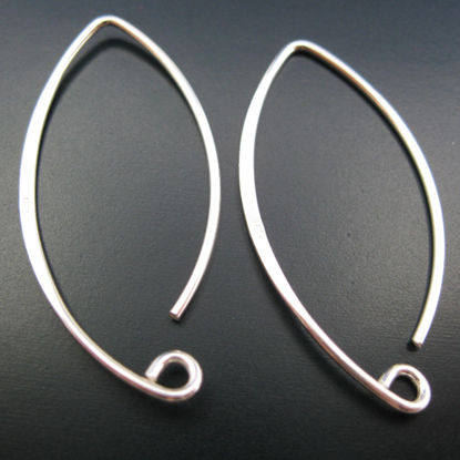 925 Sterling Silver 35mm Marquise Earwire (Sold per pair)