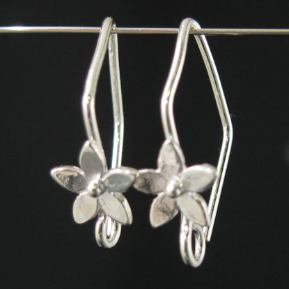 Sterling Silver Fancy Earwires With Flower 20 by 11mm (2 pairs)