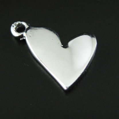 Sterling Silver Findings-Cute Tiny Heart Charms( 12 by 8 mm-5pc)