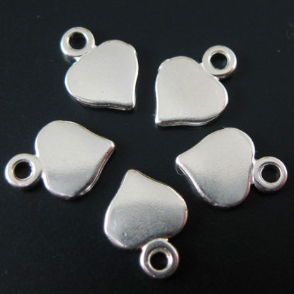 Sterling Silver 9X7 Heart Charm Tag (5 pcs)