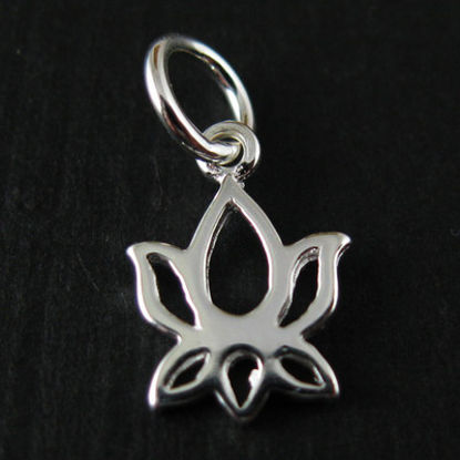 Sterling Silver Lotus Flower Charm Pendant 10mm (sold by 2 pieces)
