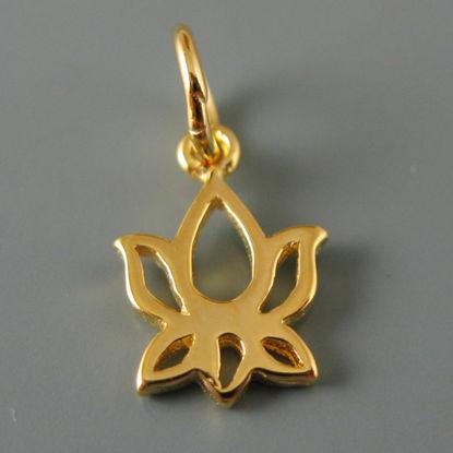 Vermeil Lotus Flower Charm Pendant 10mm (sold by 2 pieces)