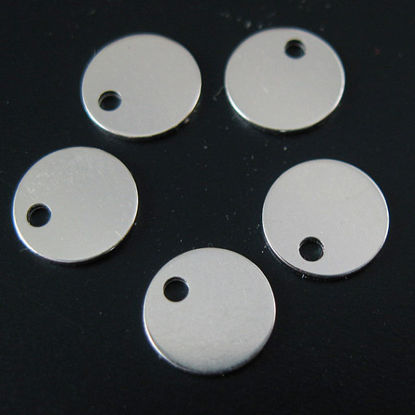 Sterling Silver Round Tag 6mm (sold per 10 pcs)