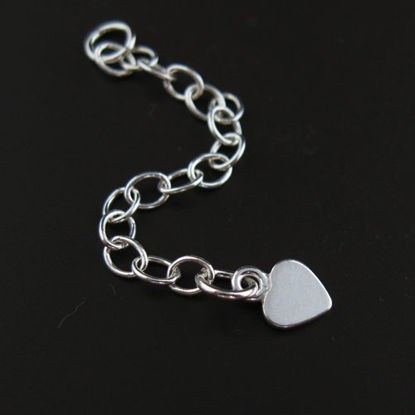 Sterling Silver-Chain Extender With Heart-1.5 inches ( 2 pcs)