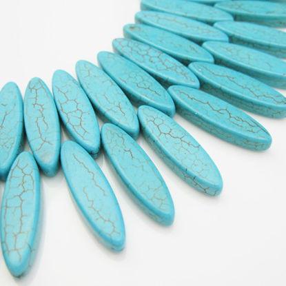 Turquoise Beads-Nature Stone-Leaf shape (sold per Strand)