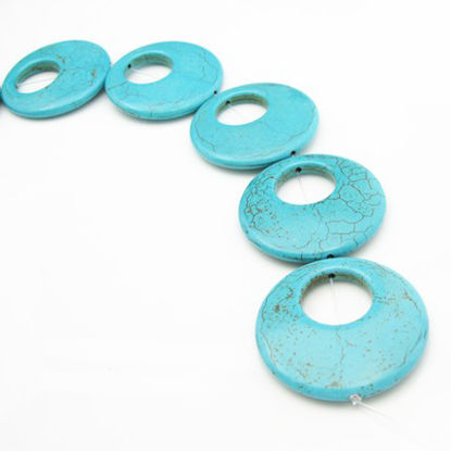 Turquoise Nature Stone-Huge Double Round Shape (sold per strand)