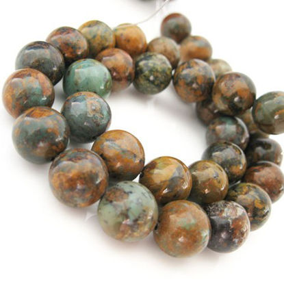 Golden Green Turquoise Beads-12mm Round shape (sold per strand)