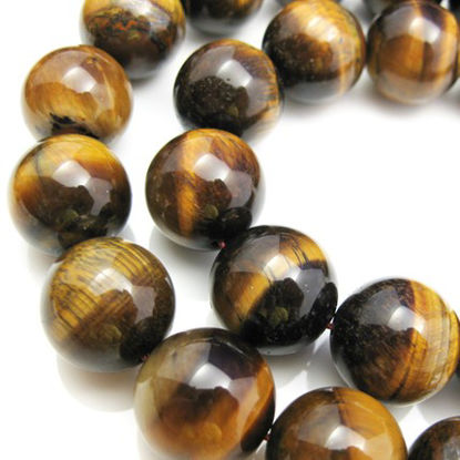 Tiger Eye Nature Stone -Smooth Round 16.5mm (sold per strand)