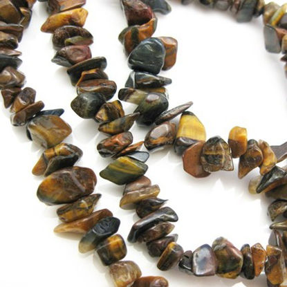Tiger Eye Nature Stone Chips-36 inches strand (sold per strand)