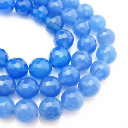 Blue Nature Agate Beads -10.5mm Faceted Round (sold per strand)