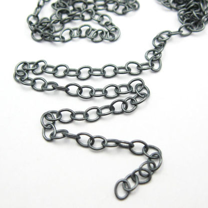 Oxidized Sterling Silver Chain-3X4 Cable Oval (sold per foot)