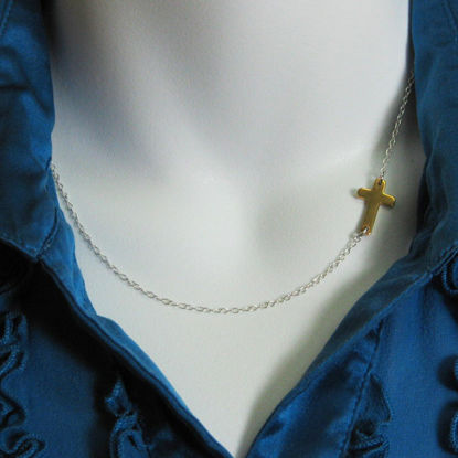 Sideways Cross - Sterling Silver Necklace , Two Tone ,Off Center