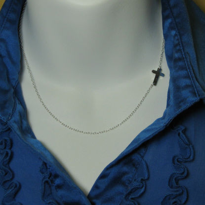 Sideways Cross - Sterling Silver Necklace , Off Center