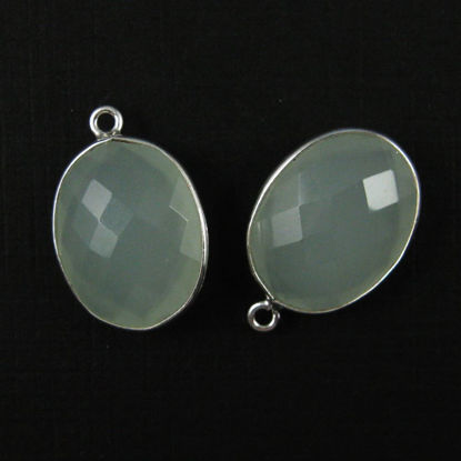 Bezel Gem Pendant - Sterling Silver - 14x18mm Faceted Oval - Aqua Chalcedony (sold per 2 pieces)