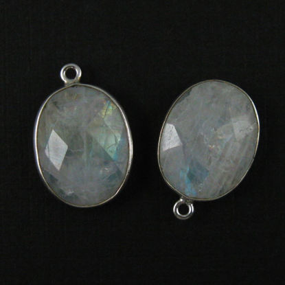 Bezel Gem Pendant - Sterling Silver - 14x18mm Faceted Oval - Moonstone (sold per 2 pieces)
