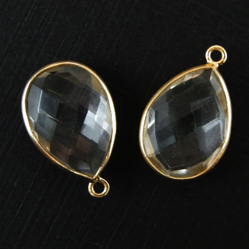 Bezel Gem Pendant-Sterling Silver-13x18mm Faceted Pear-Black Rutilated Quartz