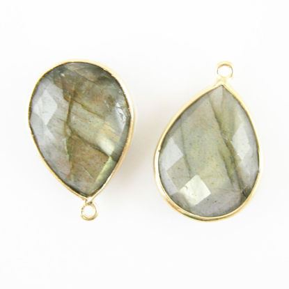 Bezel Gemstone Pendant - 13x18mm Faceted Pear Shape - Labradorite  (Sold per 2 pieces)