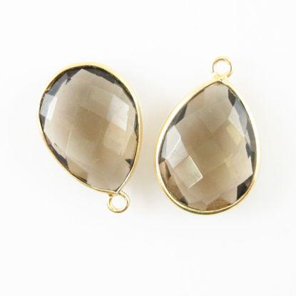 Bezel Gemstone Pendant - 13x18mm Faceted Pear Shape - Smokey Quartz (Sold per 2 pieces)