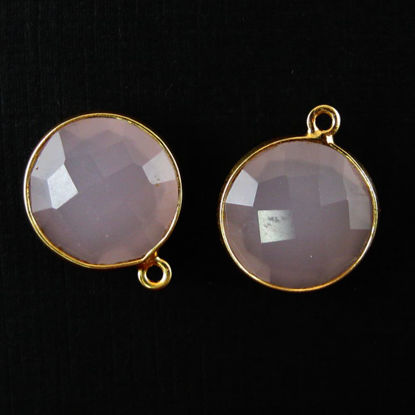 Bezel Gemstone Pendant - 14mm Faceted Coin Shape - Pink Chalcedony (Sold per 2 pieces)