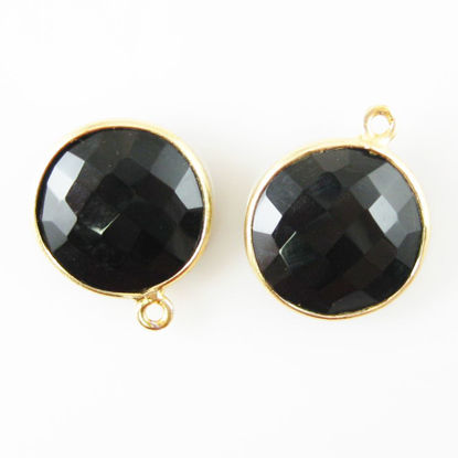 Bezel Gemstone Pendant - 14mm Faceted Coin Shape - Black Onyx (Sold per 2 pieces)