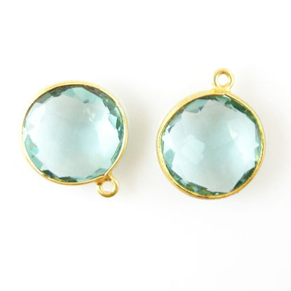 Bezel Gemstone Pendant - 14mm Faceted Coin Shape - Aqua Quartz (Sold per 2 pieces)