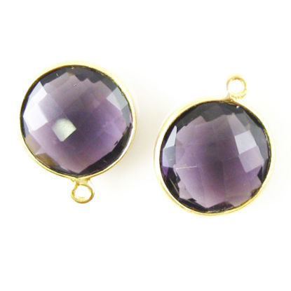 Bezel Gemstone Pendant - 14mm Faceted Coin Shape - Amethyst Quartz (Sold per 2 pieces)
