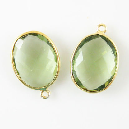 Bezel Gemstone Pendant - 14x18mm Faceted Oval - Green Amethyst Quartz (Sold per 2 pieces)