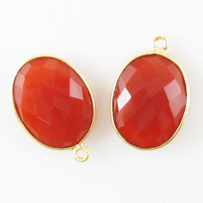 Bezel Gemstone Pendant - 14x18mm Faceted Oval - Carnelian  (sold per 2 pieces)
