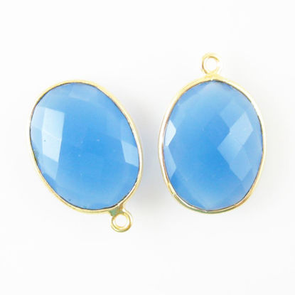 Bezel Gemstone Pendant - 14x18mm Faceted Oval - Blue Chalcedony (Sold per 2 pieces)