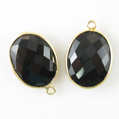 Bezel Gemstone Pendant - 14x18mm Faceted Oval - Black Onyx (Sold per 2 pieces)