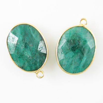 Bezel Gemstone Pendant - 14x18mm Faceted Oval - Dyed Emerald   (Sold per 2 pieces)