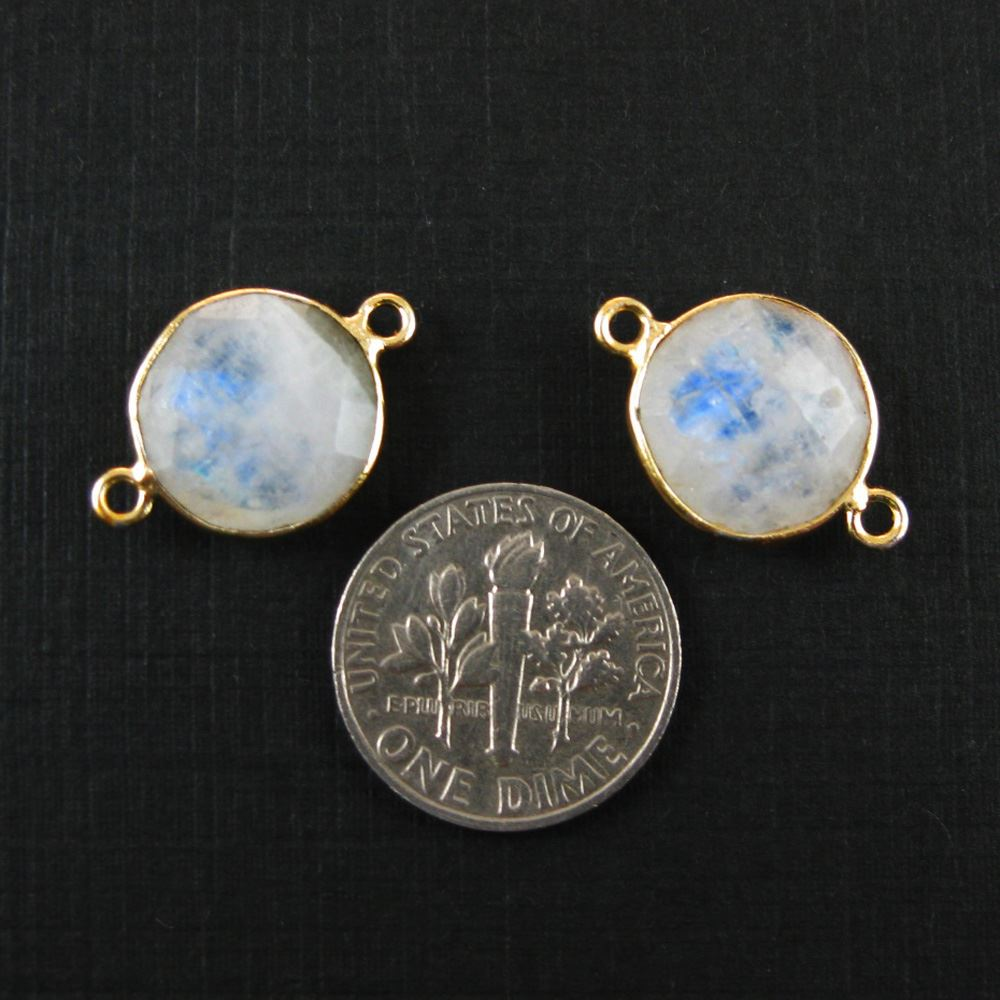 Bezel Gemstone Links - Vermeil - Faceted Coin Shape - Moonstone (Sold per 2 pieces)