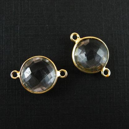 Bezel Gemstone Links - Vermeil - Faceted Coin Shape - Crystal Quartz  (Sold per 2 pieces)