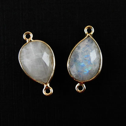 Bezel Gemstone Links- 10x14mm Faceted Pear - Moonstone (Sold per 2 pieces)