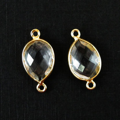 Bezel Gemstone Links - 10x14mm Faceted Pear - Crystal Quartz  (Sold per 2 pieces)