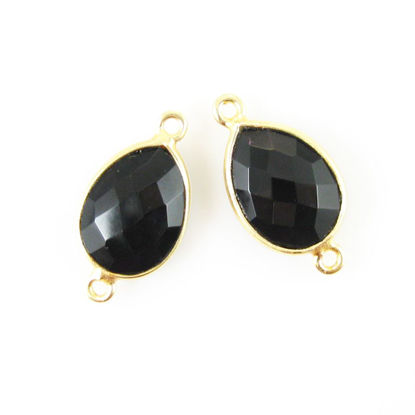 Bezel Gemstone Links - 10x14mm Faceted Pear - Black Onyx (Sold per 2 pieces)