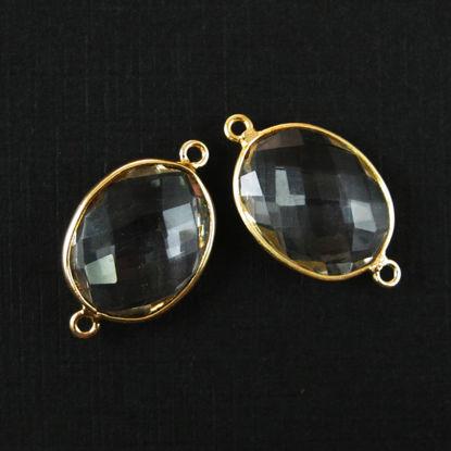 Bezel Gemstone Links - 14x18mm Faceted Oval - Crystal Quartz (Sold per 2 pieces)