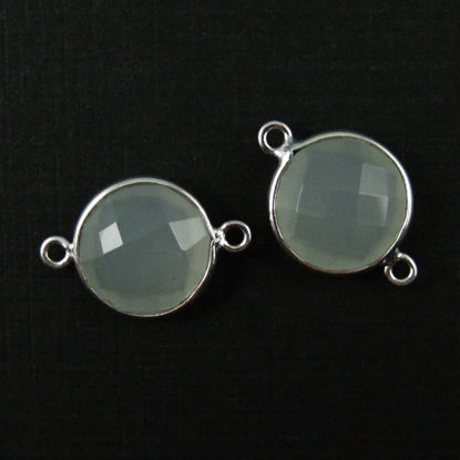 Bezel Gemstone Links - Sterling Silver - Faceted Coin Shape - Aqua Chalcedony (Sold per 2 pieces)