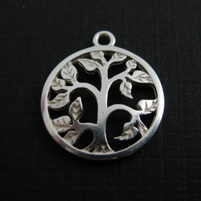 925 Sterling Silver Charm -Tree Charm with Leaves Pendant - 14mm