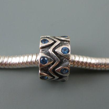 European .925 Sterling Silver Charm Beads CZ Zigzag Design