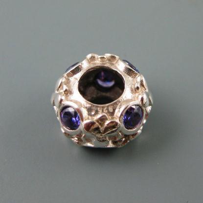 European .925 Sterling Silver Charm Beads CZ Flower Pattern